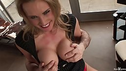 British milf with blue eyes and big boobs, Tanya Tate sucked a stranger's cock, until he came