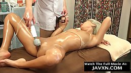 Instead of getting a relaxing massage, blonde japanese teen is riding her masseur's rock hard dick