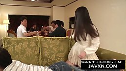 Delightful, Japanese teen is getting nailed after the family dinner, because her pussy got wet