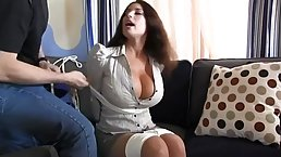 Busty housewife gets extremely horny when she gets tied up and left on the floor