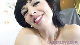 Dirty minded brunette with big tits is sucking dick like a pro, in front of the camera