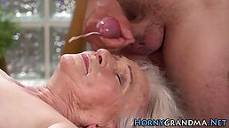 Insatiable granny is moaning while getting fucked and expecting to get a facial in the end
