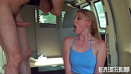 Charming blonde honey, Melody Marks got fucked in the back of a van, until she came