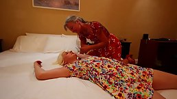 Kinky mature is playing with a delightful, knocked out blonde, because she enjoys it a lot