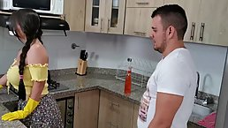 Busty brunette is about to get fucked hard, from the back, instead of cleaning the kitchen