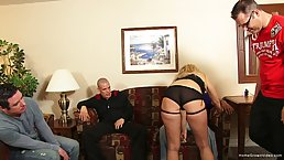 Experienced blonde is often getting hired to please groups of men, because she does it so good