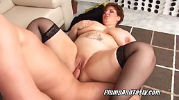 Busty redhead with ample assets is cheating on her partner, because she is extremely horny