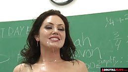 Insatiable teacher is offering herself to a group of students and enjoying while getting gangbanged